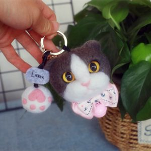custom felted cat portrait-paw
